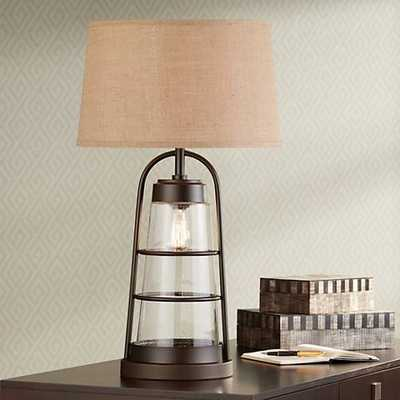 Industrial Lantern Table Lamp with Night Light - Lamps Plus