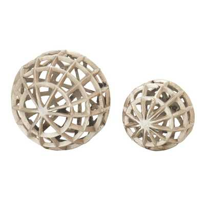 Weaved Sphere Decorative Sculpture in Rubbed Silver Finish (Set of 2) - Home Depot