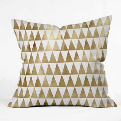 "Triangle Pattern Gold  Throw Pillow  - Polyester Insert-18""x18"" - Wander Print Co."