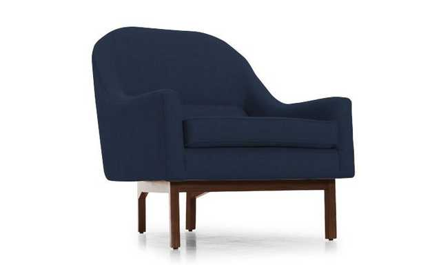 Blue Knight Mid Century Modern Chair - Bentley Indigo - Mocha - Joybird