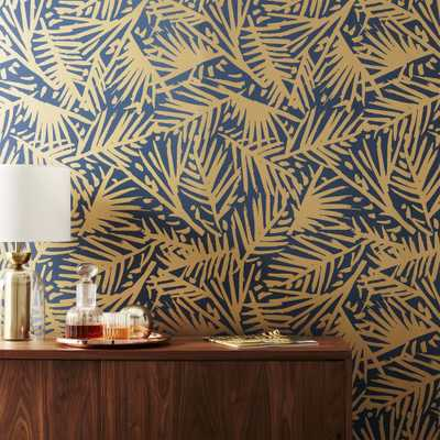 caymen navy and gold palm traditional paste wallpaper - CB2