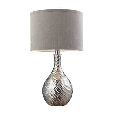Hammered Chrome Plated Table Lamp With Grey Faux Silk Shade - Rosen Studio