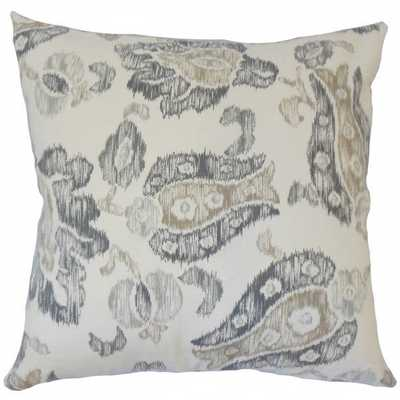 Kaley Ikat Pillow Grey - 18x18 - Down insert - Linen & Seam