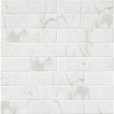Marmi Blanco White 4 in. x 16 in. Glazed Ceramic Wall Tile (11 sq. ft. / case) - Home Depot