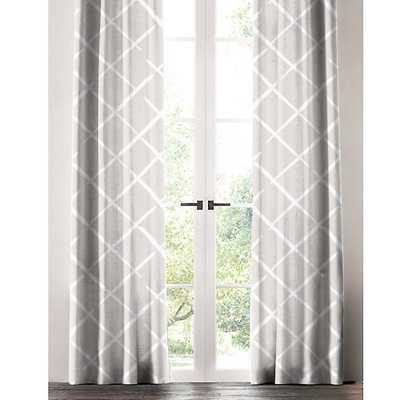 "WHITE CROSSHATCH WINDOW PANEL, 96"" x 50"" - Linen & Seam"