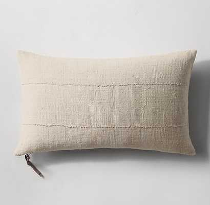 SOLID HANDWOVEN AFRICAN MUD CLOTH LUMBAR PILLOW COVER - NATURAL - RH