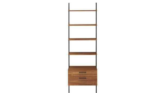 "helix 96"" acacia shelf with 2 drawers - CB2"