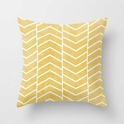 Yellow Chevron Pillow - With Insert - Society6