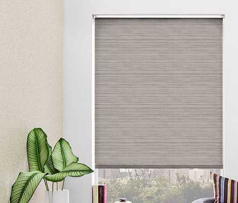Roman Shade, Grassweave  /	Silver- Continuous Loop - The Shade Store