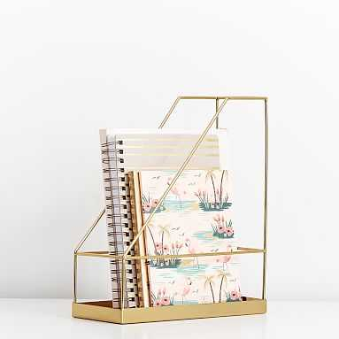 Silhouette Desk Accessories, Magazine Caddy, Gold - Pottery Barn Teen