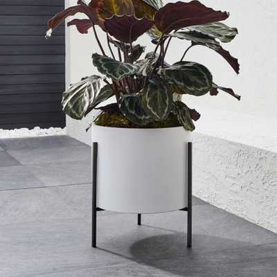 Dundee Low White Planter with Stand - Crate and Barrel