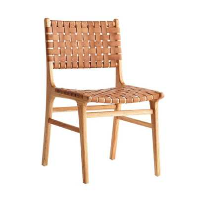 WOVEN LEATHER DINING CHAIR - Wisteria