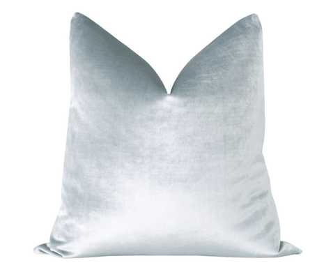 "Faux Silk Velvet // Mist Blue 18""x18"" - Little Design Company"