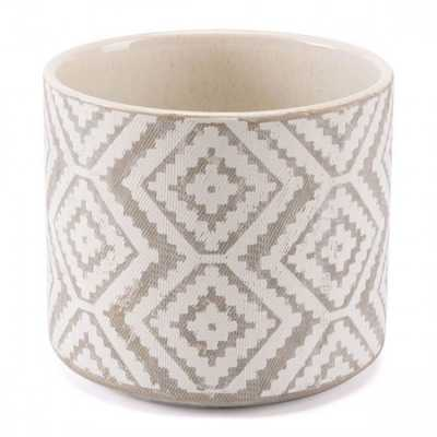 Indio Planter Lg White & Gray - Zuri Studios