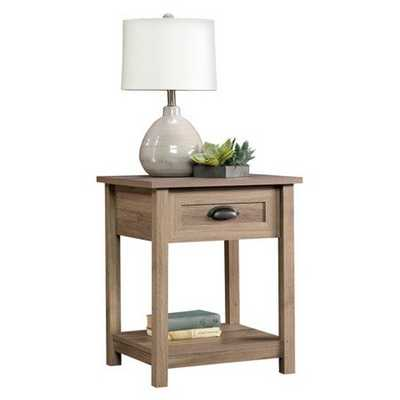 County Line Side Table, Night Stand with Drawer & Open Shelf - Salt Oak - Sauder - Target