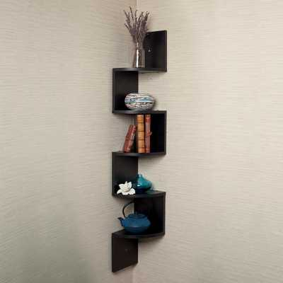 Zig Zag 7.75 in W x 7.75 in. D Floating Laminate Corner Wall Decorative Shelf in Black Finish - Home Depot