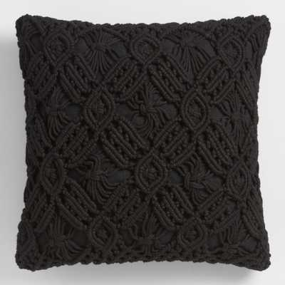Black Macrame Indoor Outdoor Patio Throw Pillow - Polyester by World Market - World Market/Cost Plus