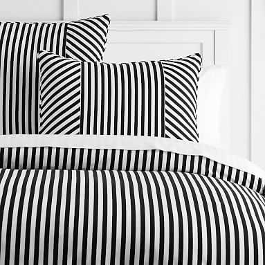 The Emily & Meritt Cabana Stripe Duvet + Sham, Twin, Black/White - Pottery Barn Teen