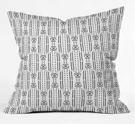 "MUDCLOTH WHITE Indoor Throw Pillow By Holli Zollinger - 18"" x 18"" COVER ONLY - Wander Print Co."