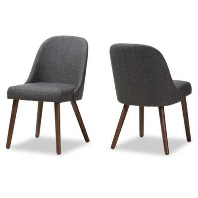 BAXTON STUDIO CODY MID-CENTURY MODERN DARK GREY FABRIC UPHOLSTERED WALNUT FINISHED WOOD DINING CHAIR (SET OF 2) - Lark Interiors