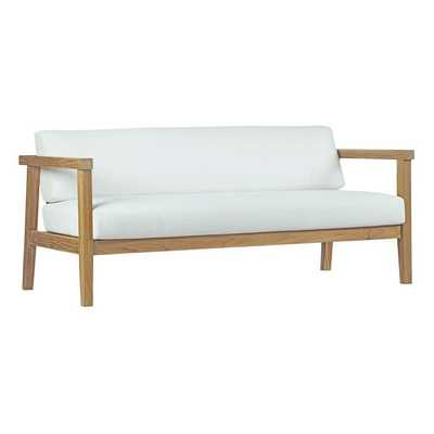 BAYPORT OUTDOOR PATIO TEAK LOVESEAT IN NATURAL WHITE - Modway Furniture