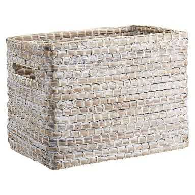 Naturalist Woven Storage Bin, White Wash - Pottery Barn Teen