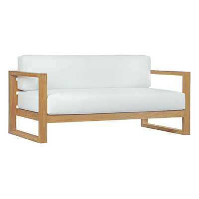 UPLAND OUTDOOR PATIO TEAK SOFA IN NATURAL WHITE - Modway Furniture