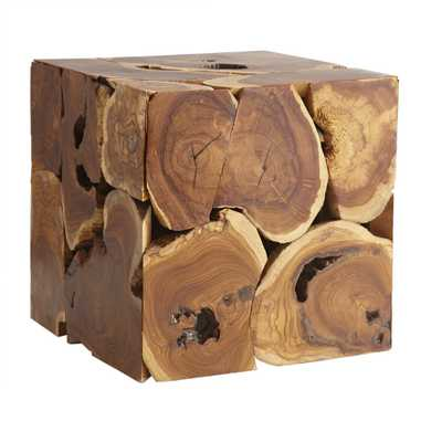 TEAK CUBE SIDE TABLE - Wisteria