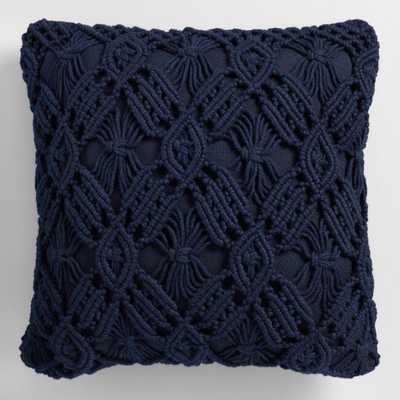 Navy Blue Macrame Indoor Outdoor Throw Pillow - World Market/Cost Plus