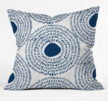 "CIRCLES IN BLUE II Throw Pillow - 16"" x 16"" - Polyester Insert - Wander Print Co."