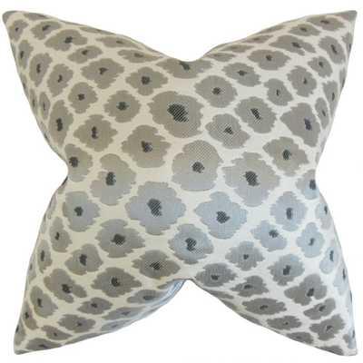 """Fanna Geometric Pillow Grey, 18"""" x 18"""", Down Insert - Linen & Seam"""