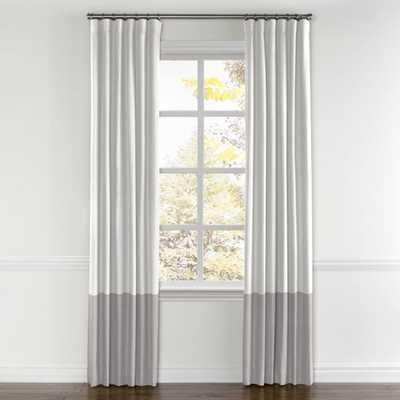 "Convertible Drapery, Lush Linen- white, Bottom Color Block- Lush Linen- Smokey Quartz, Pair, Split Draw, 50""x95"" - Loom Decor"
