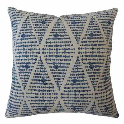 Cahdla Geometric Pillow Blue - 26 x26 Euro - Linen & Seam