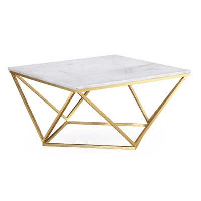 Langston White Marble Cocktail Table - Maren Home