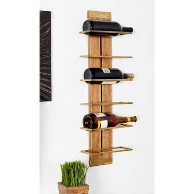Brown Wood and Iron 6-Bottle Wall Mounted Wine Rack - Home Depot