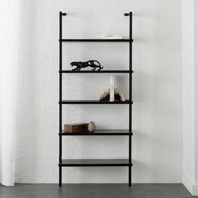 "Stairway Black 72.5"" Wall Mounted Bookcase - CB2"