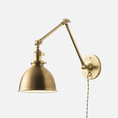 "Princeton Long Plug-In Sconce 2.25"" - Natural Brass, Khaki Twisted Cord - Schoolhouse Electric"
