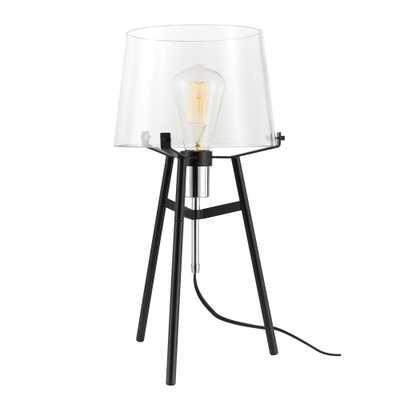 Globe Electric Lancaster 20 in. Black Indoor Table Lamp with Clear Glass Shade - Home Depot