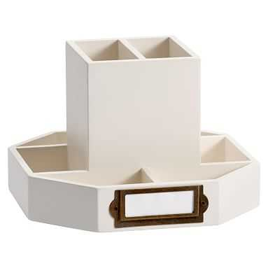 Classic Wooden Desk Accessories, Rotating Caddy, Simply White - Pottery Barn Teen
