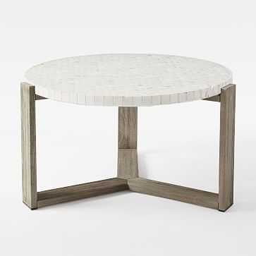 Mosaic Coffee Table - White Marble Top + Weathered Gray Base - West Elm