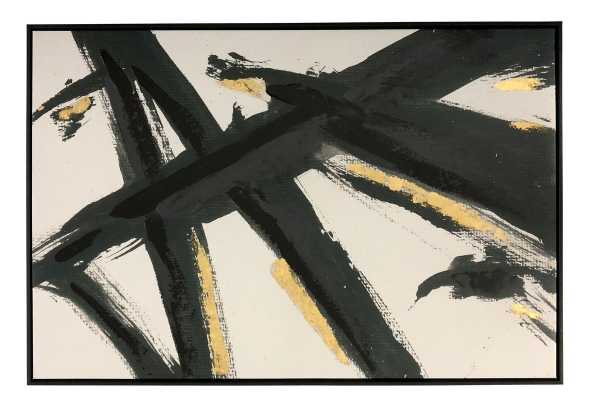 'Black and Gold Abstract Brushstrokes' Framed Acrylic Painting Print on Canvas - Wayfair