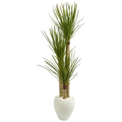 Nearly Natural Indoor 5.5-Ft. Yucca Artificial Tree in White Planter - Home Depot
