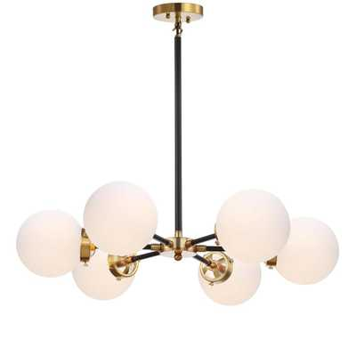 "JONATHAN Y Caleb Adjustable 6-Light 28"" Brass Cluster Pendant, Brass Gold/Black - Home Depot"