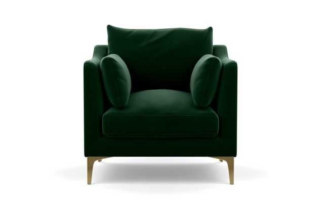 Caitlin by The Everygirl Petite Chair with Emerald Fabric and Brass Plated legs - Interior Define