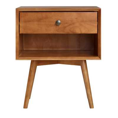 Walker Edison Furniture Company Mid-Century 1-Drawer Caramel Solid Wood Nightstand - Home Depot