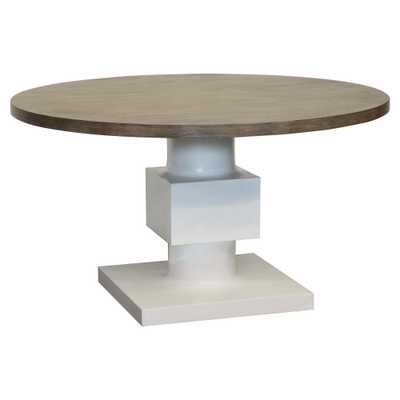 Leonara Coastal White Pedestal Rustic Round Wood Dining Table - Kathy Kuo Home