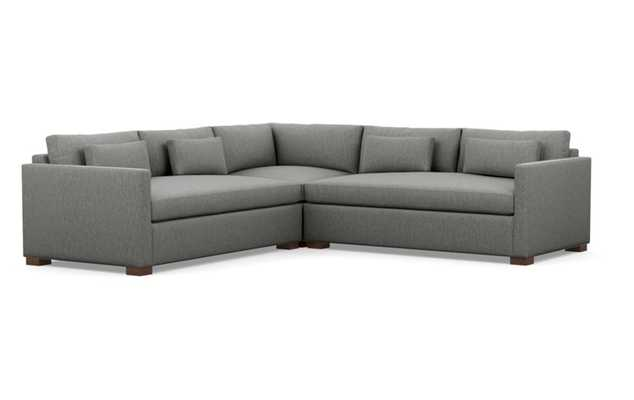 Charly Corner Sectional with Grey Plow Fabric and Oiled Walnut legs - Interior Define