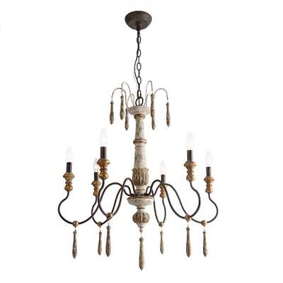 LNC 6-Light Antique White Rustic Wood French Country Chandelier - Home Depot