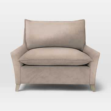 Bliss Down-Filled Chair-and-a-Half, Down Blend, Luster Velvet, Dusty Blush - West Elm