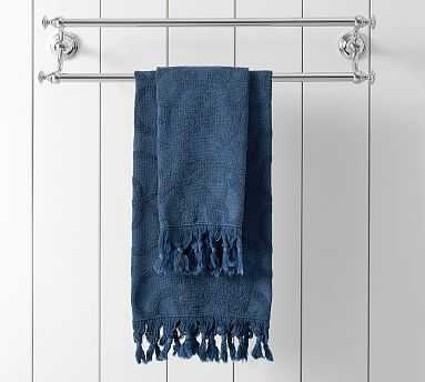 Sculpted Stonewashed Hand Towel, Indigo - Pottery Barn